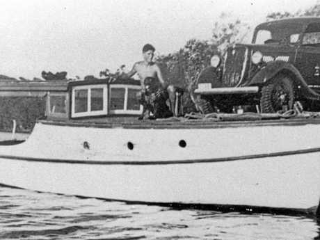 An army supply boat and truck on the Pumicestone Passage, Christmas 1940.The boat was originally named