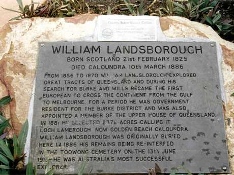 The cairn marking the burial site of William Landsborough, near the current site of the Golden Beach Shopping Centre.