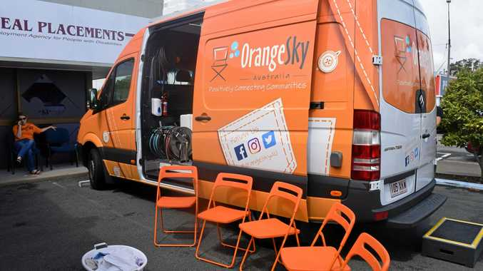 The Orange Sky Mackay van, fully fitted out with washers, dryers and a shower.