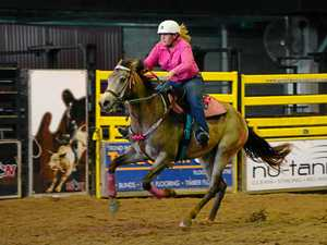 FULL GALLOP: Samantha Lowcock competing in the junior barrel race at the RGGS Bulls 'n' Barrels rodeo last year.