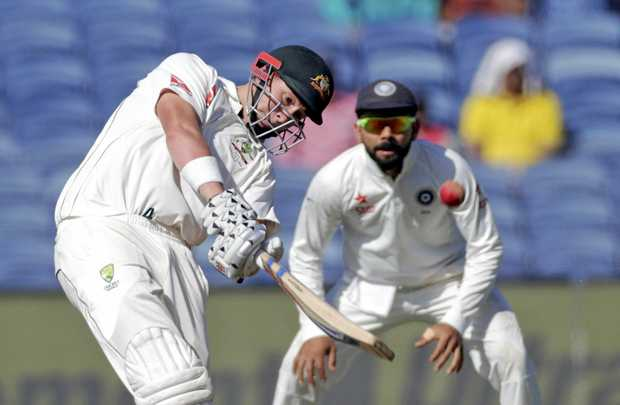 Australia's Matthew Renshaw bats during the second day of the first Test match against India in Pune, Feb. 24, 2017.