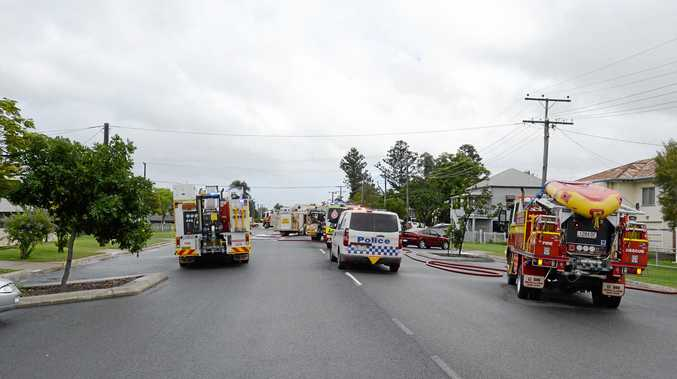 Emergency services respond to a house fire on the corner of Kent and Cambridge Streets.
