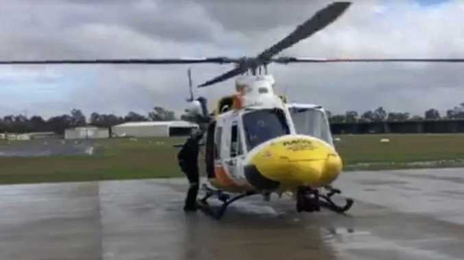 A screenshot taking from the RACQ Capricorn Helicopter Rescue video as a search begins for a missing snorkler off Heron Island.