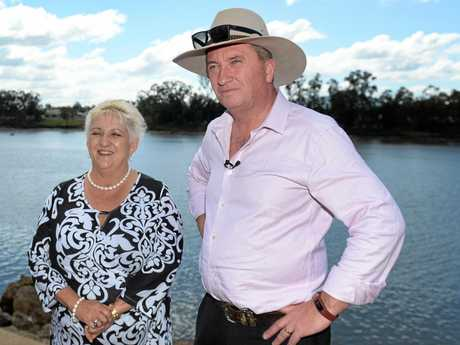 L-R Michelle Landry and Barnaby Joyce in Rockhampton to talk about Rookwood Weir.