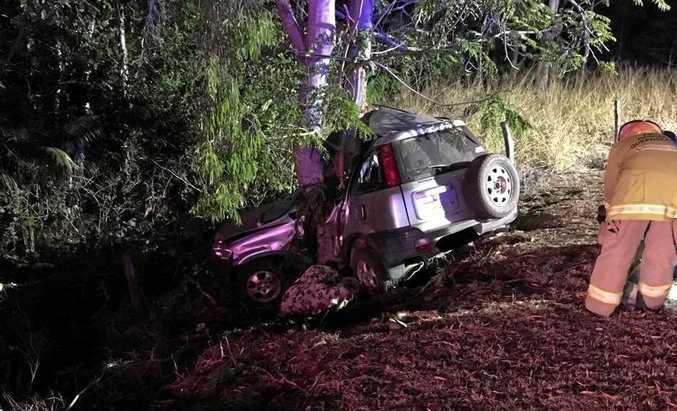 Scene from a fatal crash on Lakes Creek Road, Rockhampton on September 23.
