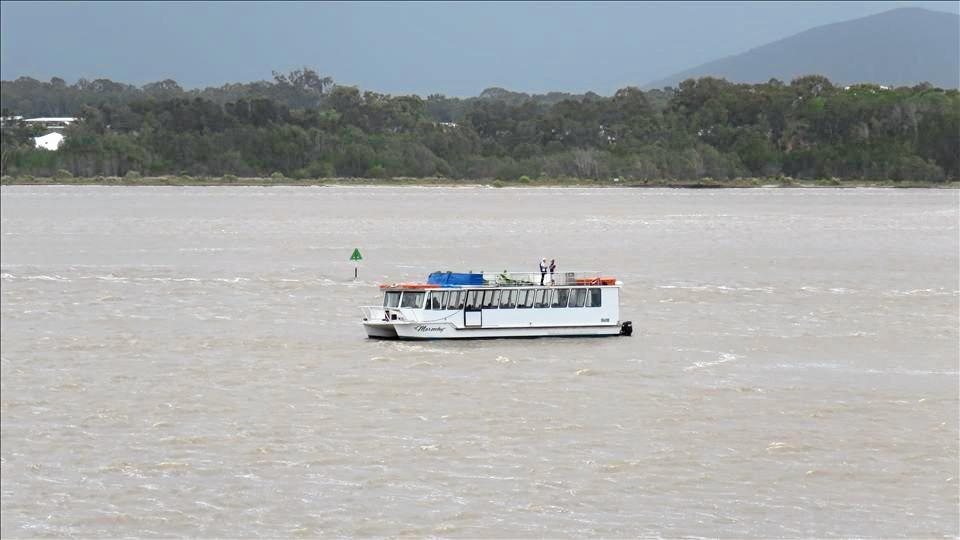RUN AGROUND: The Cruise Maroochy vessel ran aground just before 1pm yesterday.