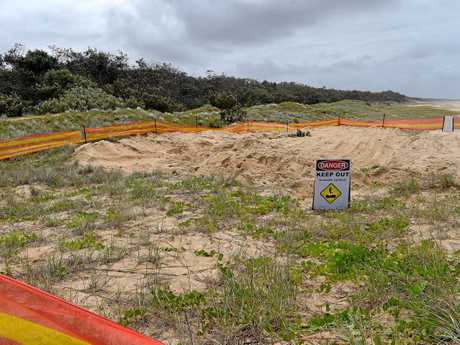 THE burial site of the whale has been fenced off while Sunshine Coast Council plans its removal.