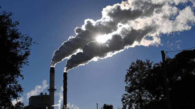 Emissions are seen from a factory at Broadwater in far northern New South Wales, Monday, July 31, 2017. (AAP Image/Dave Hunt)