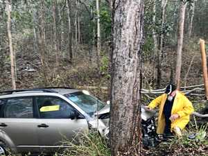 Car crashes on Bruce Hwy at The Leap