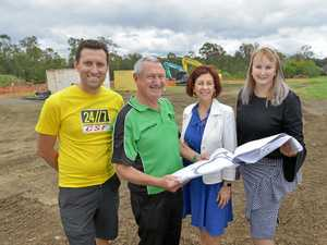 WORK IN PROGRESS: Troy Dobinson of 24/7 Cycling Safety Fund, Cr Charlie Pisasale, Member for Ipswich Jennifer Howard and Cr Cheryl Bromage are pleased to announce work has started on the Ipswich Criterium track.