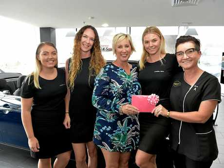 Breast Cancer fundraiser run by Four Ingredients and Coastline MINI Garage.Maddie Born from Coastline, car winner Samantha Dunn, ring winner Stacey Christian, Sammy Dowling from Coastline and Rita Williams from Sunstate Jewellers.