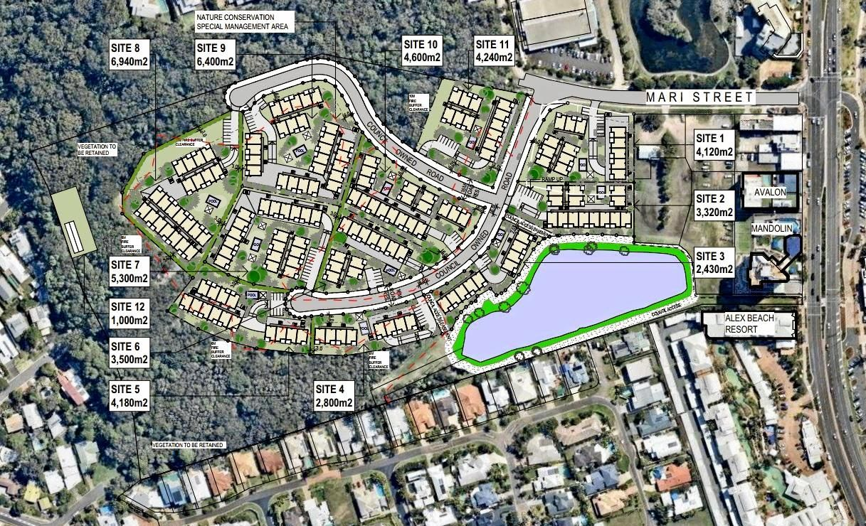 Plans show the layout for 318 new units to be built by the Uniting Church at Alexandra Headland.