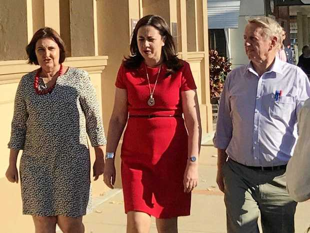 Member for Mackay Julieanne Gilbert (left) with Queensland Premier Anastacia Palaszczuk and Mirani MP Jim Pearce.