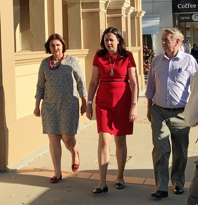Member for Mackay Julieanne Gilbert (left) with Queensland Premier Anastacia Palaszczuk and Mirani MP Jim Pearce.