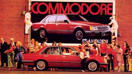 Happier days. A Holden Commodore billboard from 1978. Picture: Supplied.