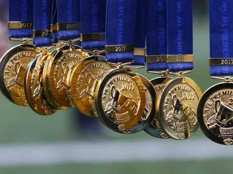 The 2017 AFL Premiership medals.