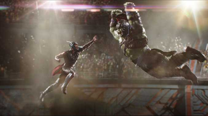 FRIENDS FROM WORK: Avengers Thor and The Hulk face off in Thor: Ragnarok.