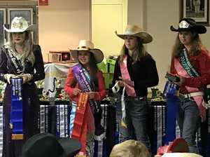 Australian Rodeo Queen Rebekah McMahon presents the awards to competitors Hope Doyle, Parker Pegg and Jorden McColley.