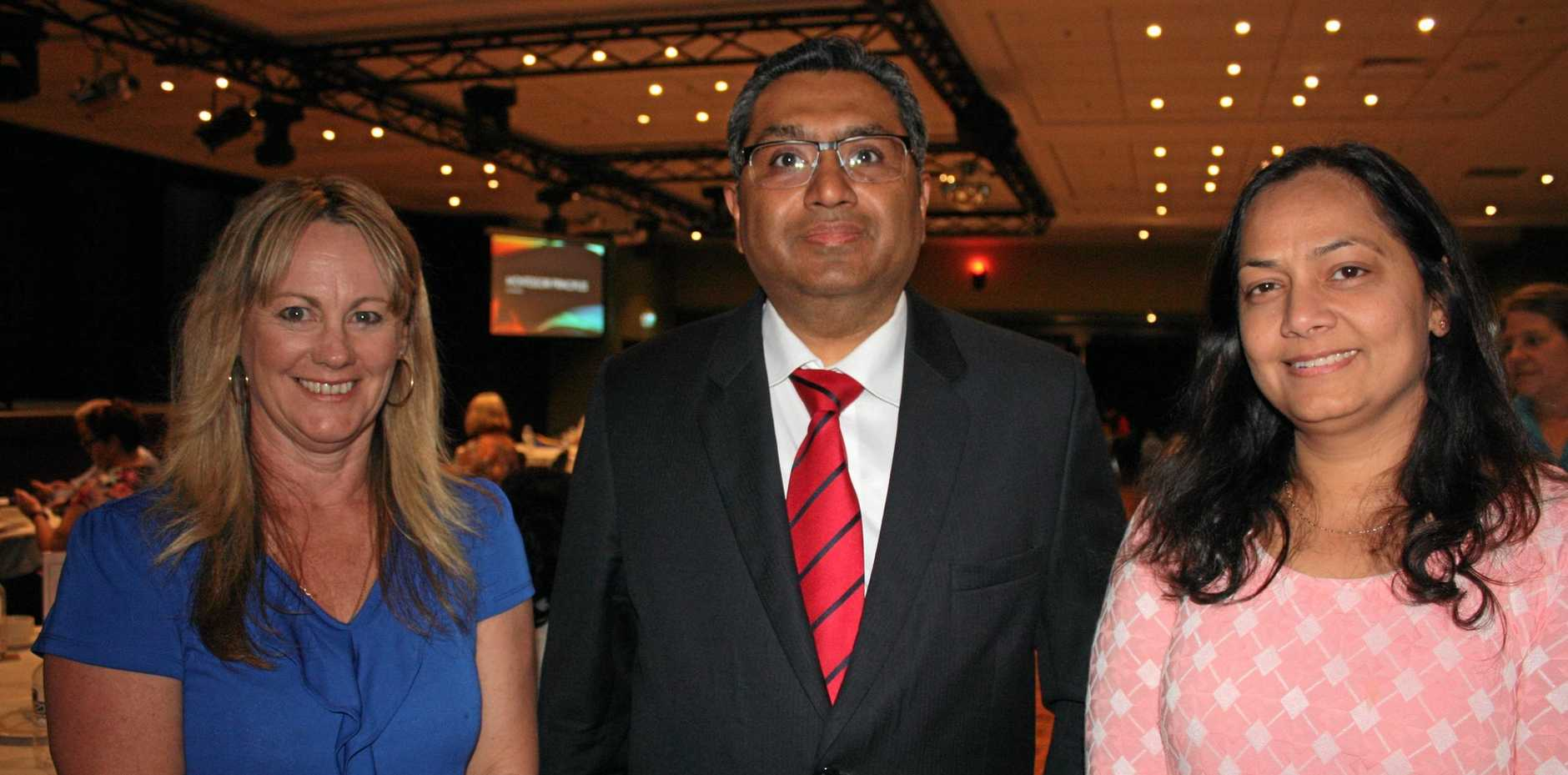 Journey Through Dementia keynote speaker, geriatrician Dr Vaibhav Tyagi, his wife, GP Dr Deepti Tyagi and event organiser Jodie Kennedy.