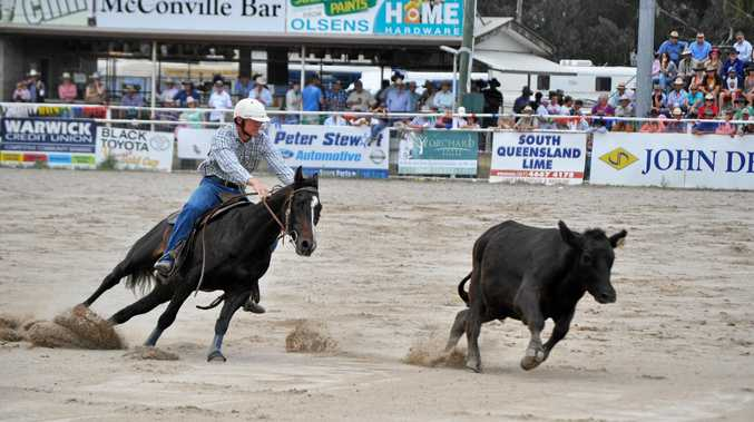 DRAFTING: Jim Daley and Westons Yakka in action at the Warwick Showgrounds. He is one of the four judges at this year's campdrafting which starts Monday.