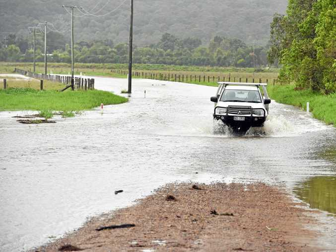 Motorist risks floodwaters at North Arm-Yandina Creek, east of Targoo Road, this week.