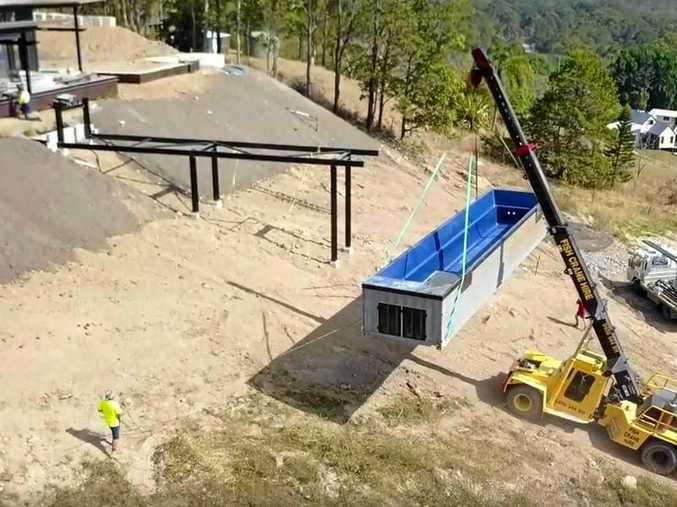 Gibson Building installing a Shipping Container Pool to a Noosa Hinterland home.