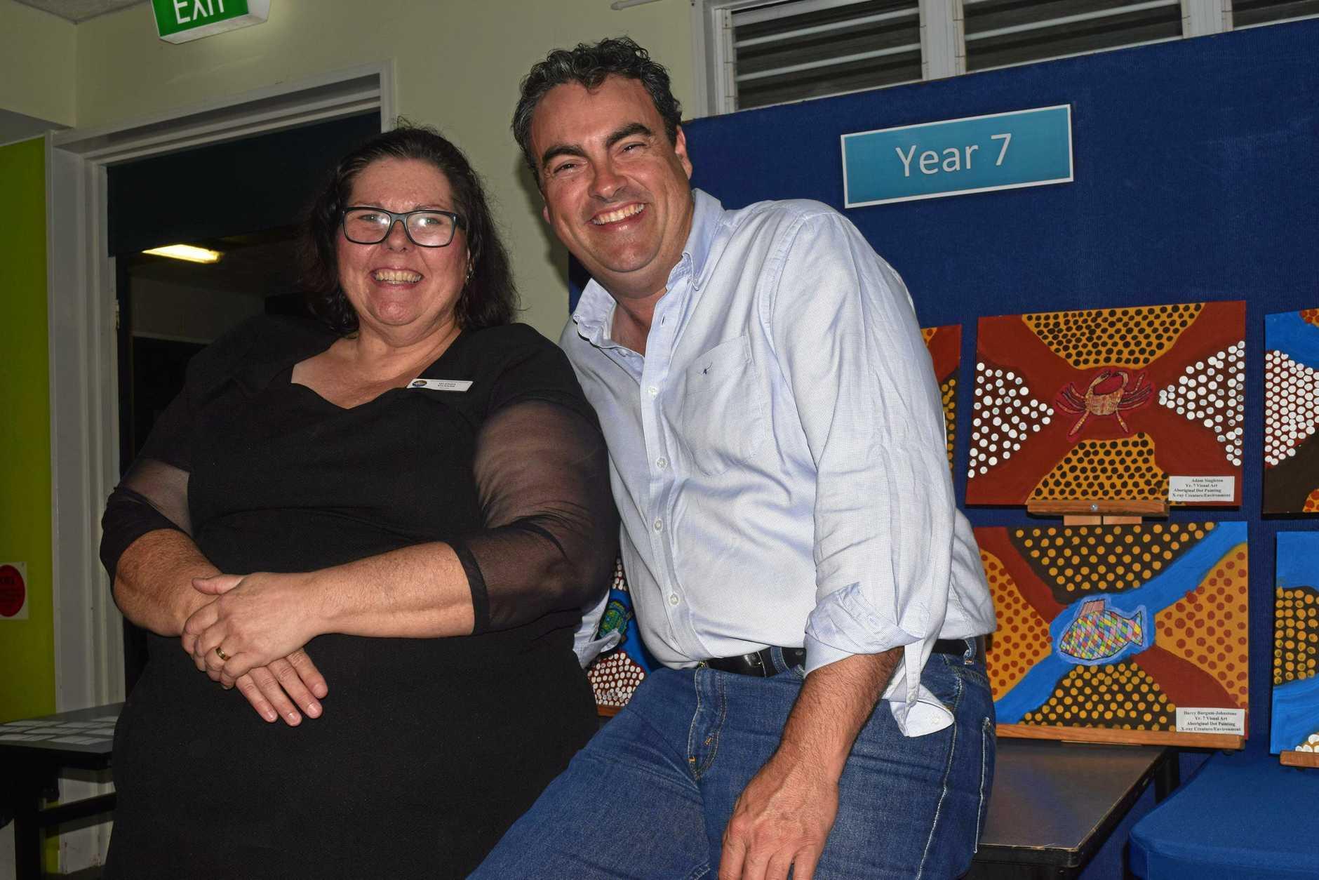 Whitsunday Christian College art teacher Glenda Vickers with Whitsunday MP Jason Costigan.