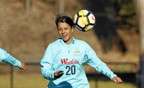 Sam Kerr of the Matildas during a team training session in Sydney.