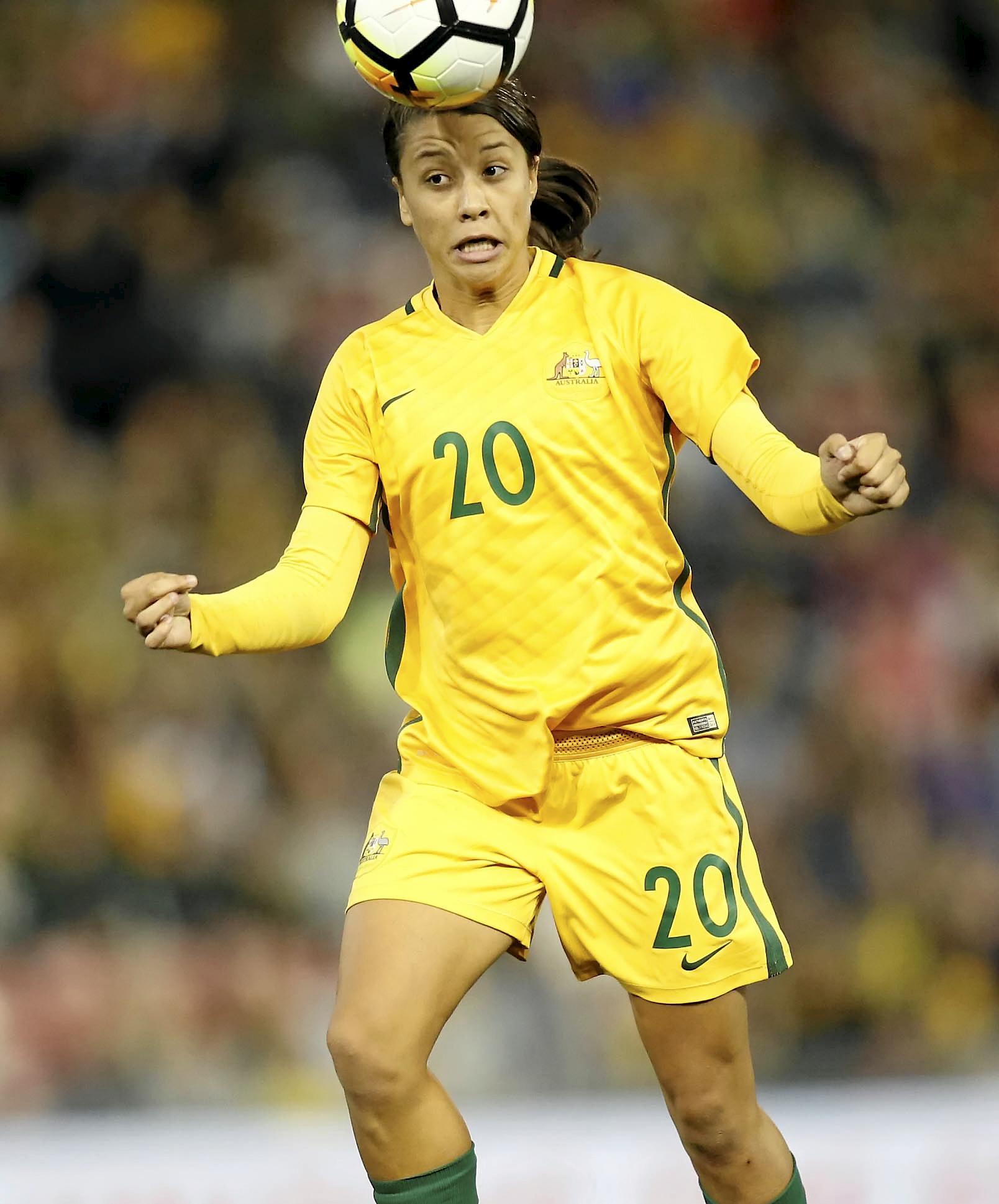 Sam Kerr of the Matildas in action agsinst Brazil in Newcastle last month.