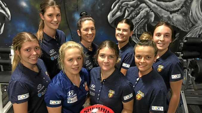 LIONESS: Jessy Keeffe, back left, has joined the Brisbane Lions AFLW team. Second row: Jessy Keeffe, Renee Cowan, Sophie Conway, Arianna Clark. First row: Kalinda Howarth, Jordan Zanchetta, Ruby Blair, Emma Pittman.