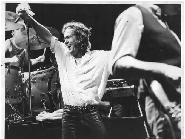 Singer Jimmy Barnes performing with band Cold Chisel in 1970s.