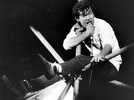 Singer Jimmy Barnes performing during concert at Memorial Drive, Adelaide Sep 1982.