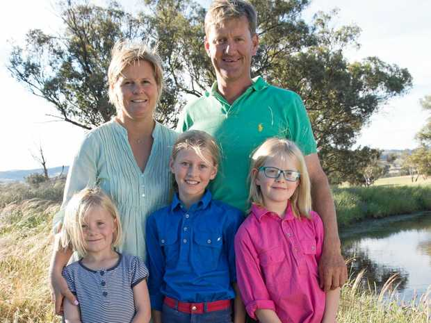 Millah Murrah Angus stud owners, the Thompson family, which includes Dimity and Ross as well as their daughters Twiggy, Millie and Olivia.