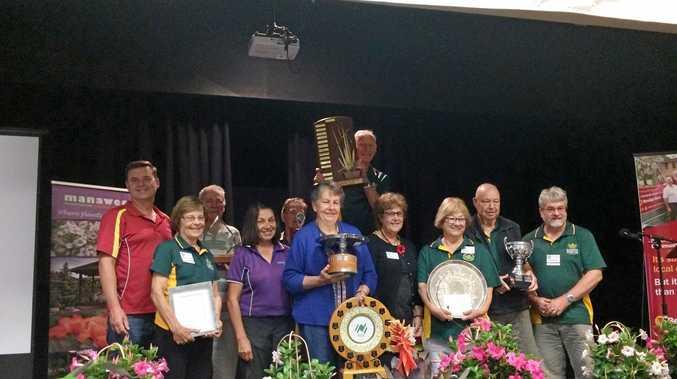 RAINING WINNERS: Buderim Garden Festival trophy winners with sponsor representatives from Buderim Bendigo Bank and Manawee Garden Centre.