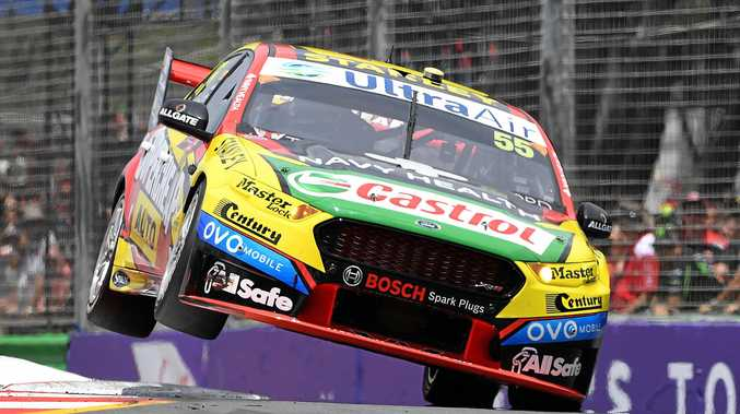 V8 Supercars driver Chaz Mostert from Supercheap Auto Racing drives through a chicane during a practice session ahead of the Gold Coast 600.
