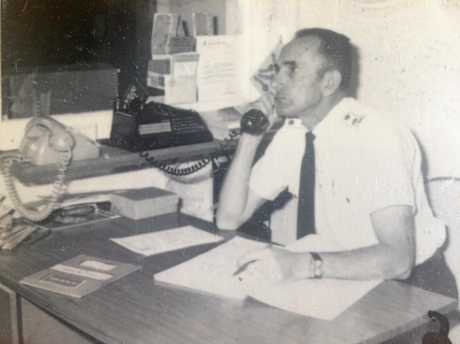 Alby Benstead, on the job as the first Ambulance Station officer at Kingscliff, from 1963 until his retirement 23 years later.
