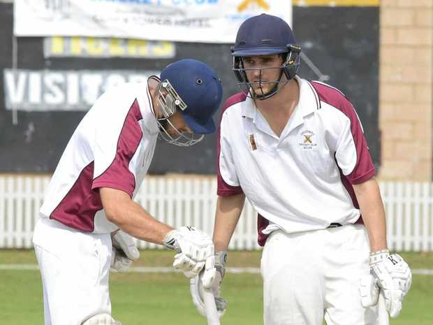STEADY KNOCK: Brothers Clocktower Hotel wicketkeeper-batsman Billy Kerr (right) with captain and mate Jake Kroehnert during last season's grand final.