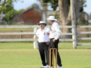 Umpires Terry Brien and Rick McLennan during the Clarence River Cricket Association GDSC Premier League match between Brothers and Westlawn at Ulmarra Showground on Saturday, 24th of October, 2015. Photo Bill North / Daily Examiner