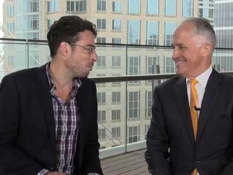 News.com.au editor-at-large Joe Hildebrand interviews Prime Minister Malcolm Turnbull during a Facebook Live session.