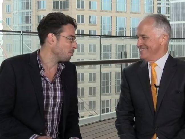 News.com.au editor-at-large Joe Hildebrand interviews Prime Minister Malcolm Turnbull during a Facebook Live session.