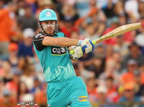 Chris Lynn hits out for the Brisbane Heat.