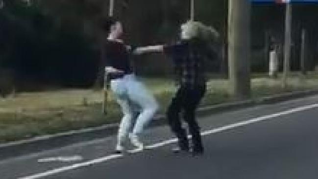 The pair brawled during peak hour traffic.. Picture: Facebook/Khan Evan