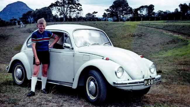 Reluctant to wake the household, we parked on the side of the road, three of us in a Volkswagen full of luggage, and that's where we slept the night. A young Kevin Rudd next to his mother's VW