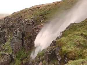 Hurricane winds push waterfall backwards