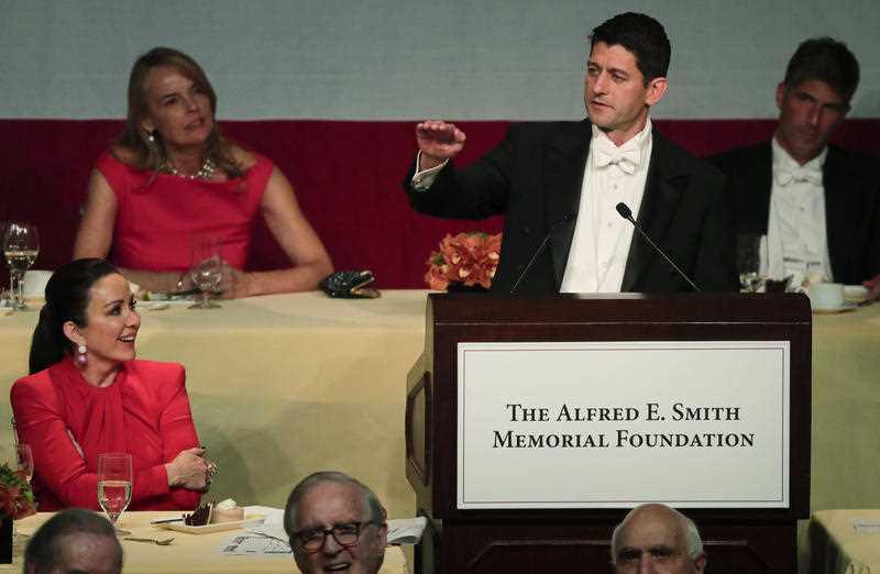 Speaker of the House Paul Ryan, R-Wis., speaks during the 72nd Annual Alfred E. Smith Memorial Foundation dinner, Thursday, Oct. 19, 2017, in New York.