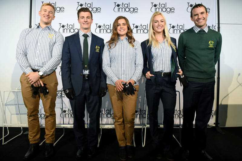 (left-tight) Australian Winter Olympics athletes Jarryd Hughes, Matt Graham, Britteny Cox, Danielle Scott and David Harris pose for a photograph at the launch of the Australian team formal uniform for the 2018 PyeongChang Winter Olympic Games, in Sydney, Friday, October 20, 2017.