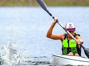 TOUGH COMPETITOR: Jack Newton competes in the Queensland Canoe Marathon Championships.