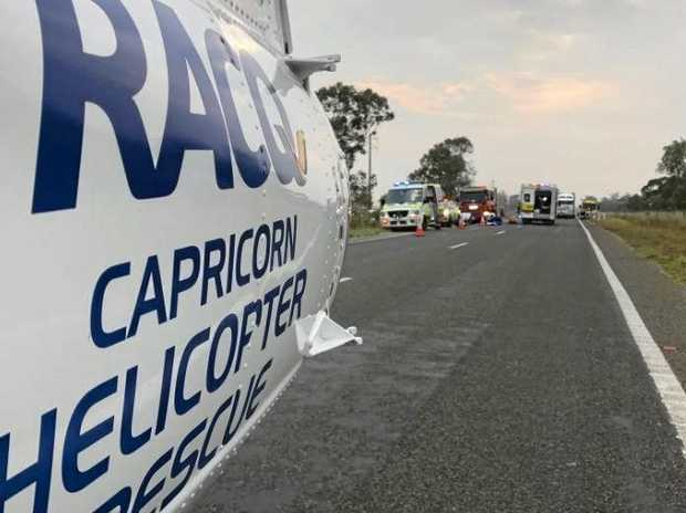 RACQ Capricorn Helicopter Rescue Service has raced to the scene of a crash on the Dawson Highway near Calliope.