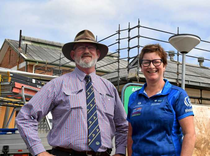 FIGHTING FLU: Rockhampton Hospital executive director Wendy Hoey, pictured here Rockhampton MP Bill Byrne, believes this new flu fighting technology could be a game changer.