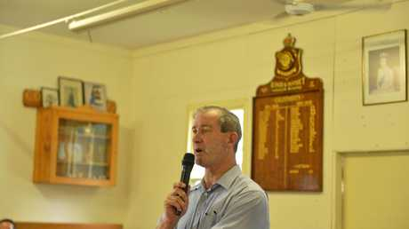 Mayor Mick Curran addresses the crowd yesterday in Widgee.